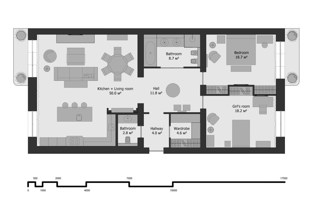 план квартиры, план с мебелью, дома Каркашадзе, перепланировка квартиры, перепланировка Одесса