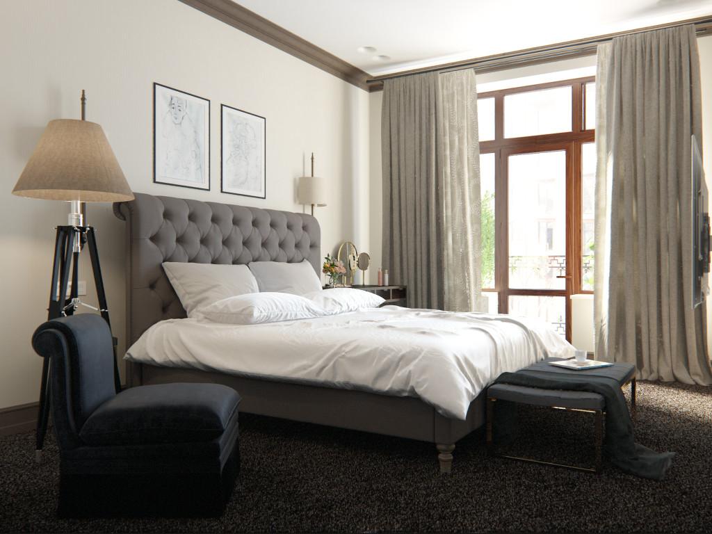спальня, дизайн спальни, современный интерьер, бежевая спальня, дизайн спальни одесса