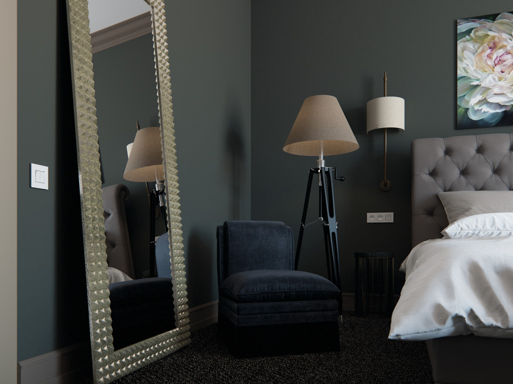 дизайн спальни, дизайн спальни в темных тонах, дизайн интерьера в Одессе