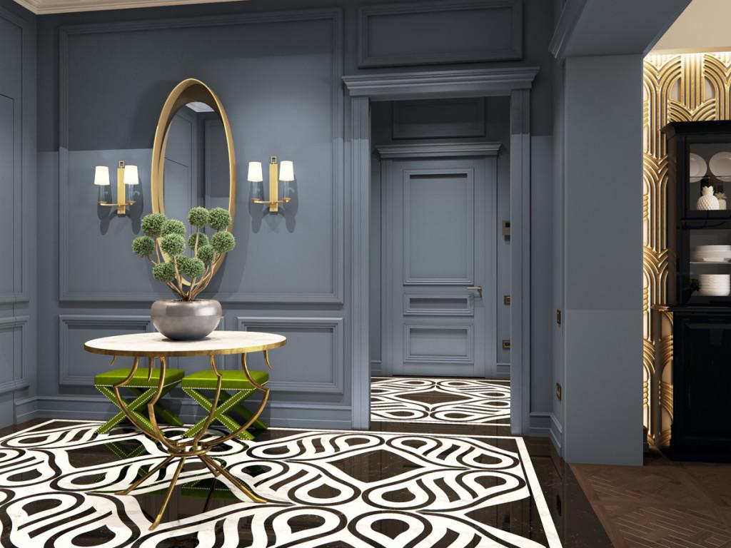 Интерьер в классическом стиле, синие стены, серые стены в интерьере, дизайн интерьера, дизайн прихожей