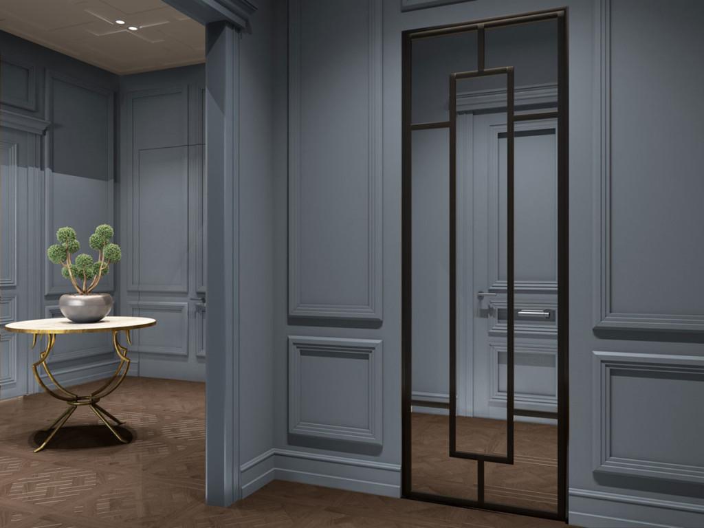 дизайн холла, дизайн прихожей, дизайн в классическим стиле, паркет, дизайн интерьера Одесса