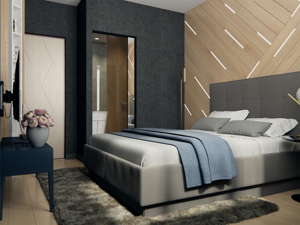Спальня, дизайн спальни, минимализм, спальня минимализм, дерево на стене