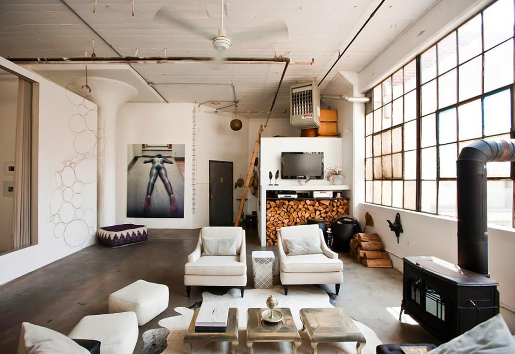 Лофт, гостиная лофт, индустриальный стиль, дизайн интерьера