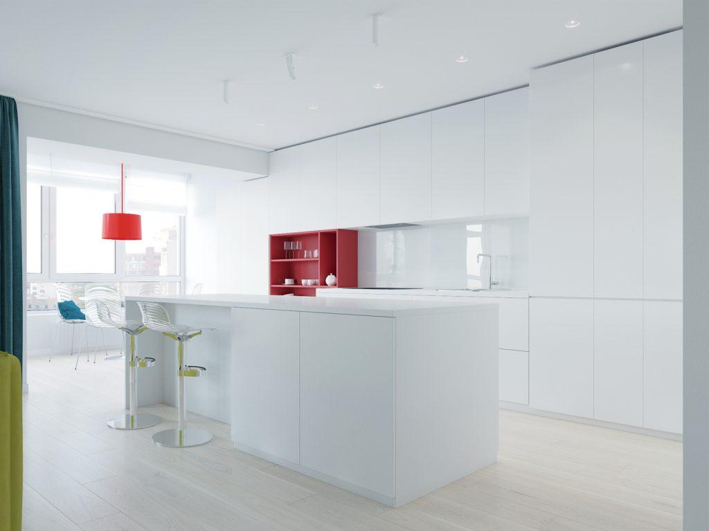 Минимализм, кухня, дизайн Одесса, дизайн интерьера, красный, белый интерьер, дизайнер