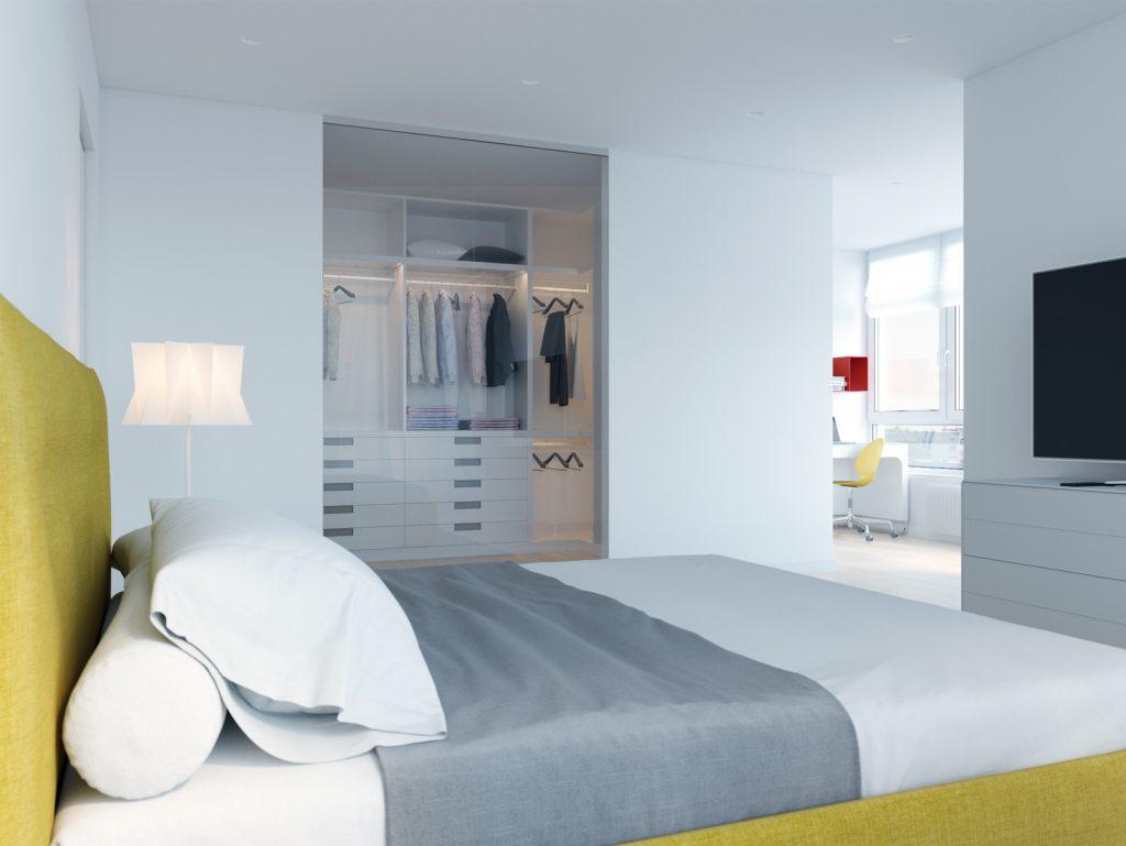 Минимализм, bedroom, дизайн Одесса, дизайн интерьера, желтый, белый интерьер, дизайнер, спальня