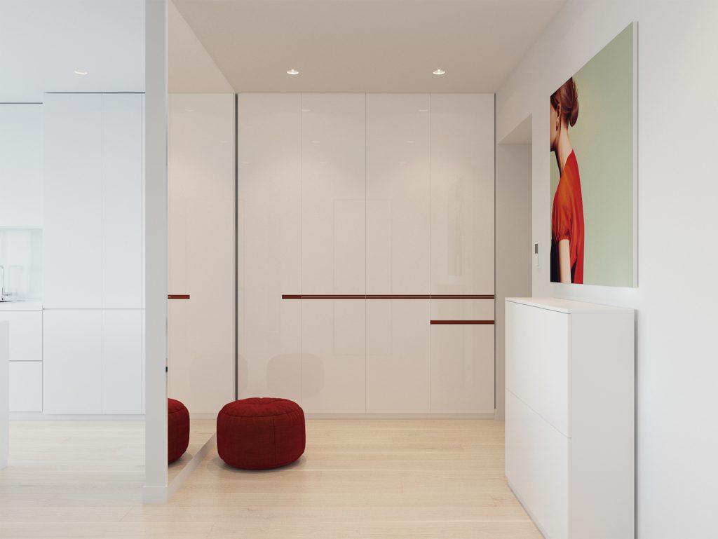 Минимализм, прихожая, дизайн Одесса, дизайн интерьера, красный, белый интерьер, дизайнер