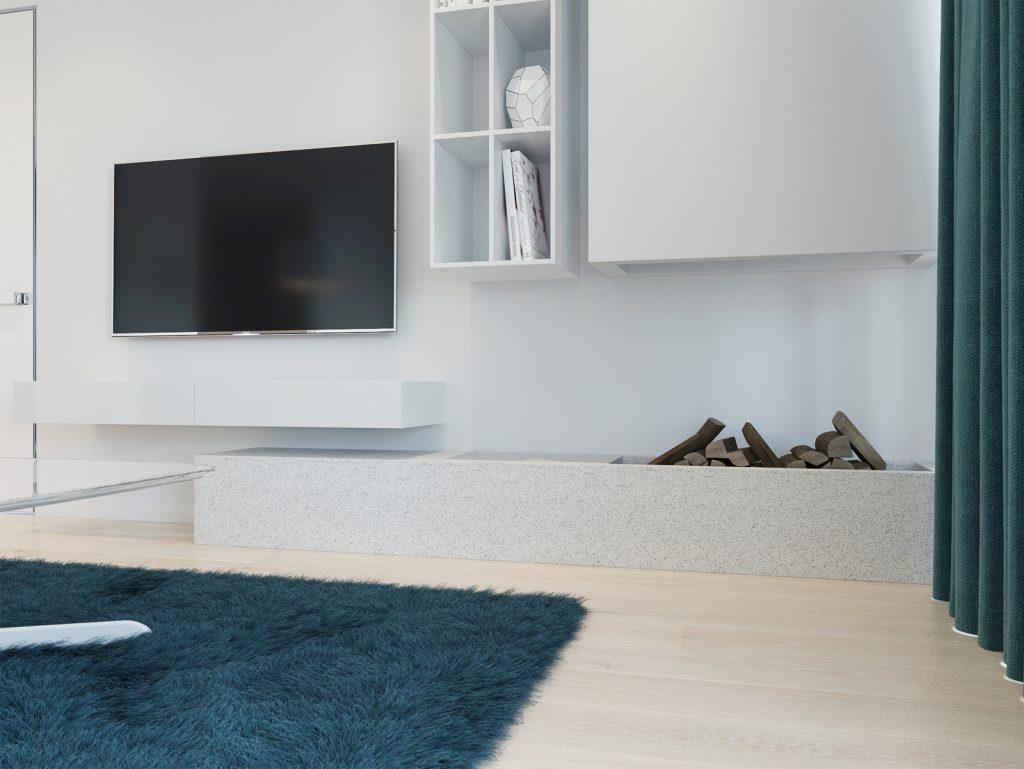 fireplace, камин в интерьере, камин в квартире, белые стены, дизайн Одесса