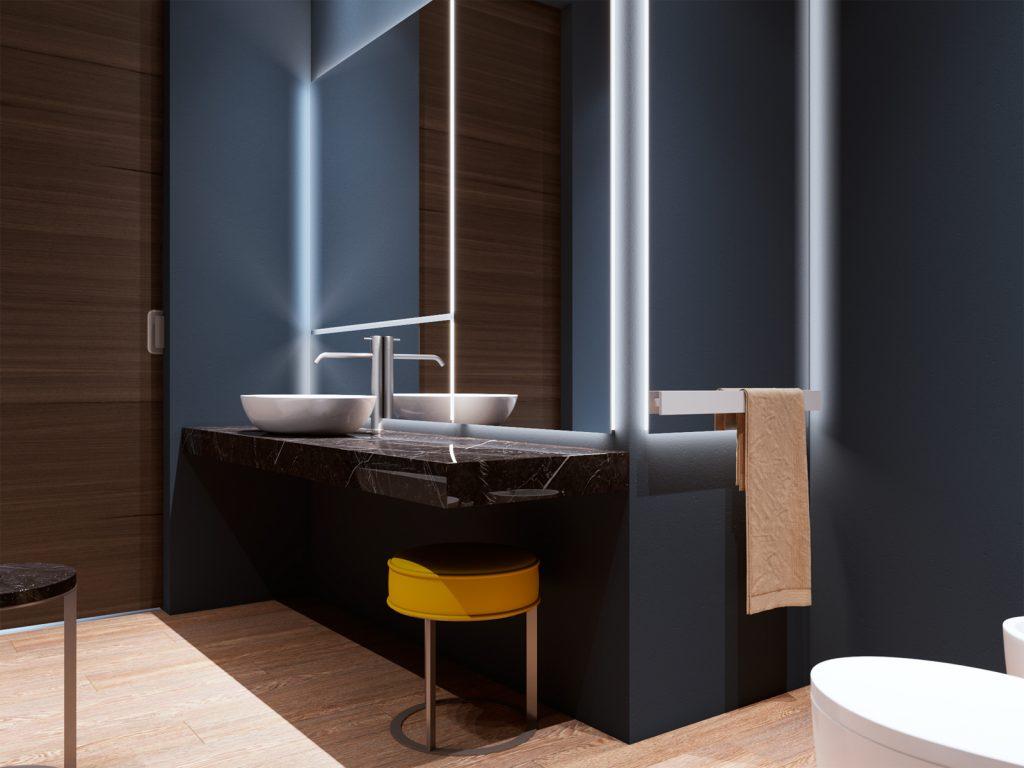 bathroom design, bathroom, blue bathroom, дизайн ванны, дизайн санузла, минимализм, дизайн интерьера Одесса
